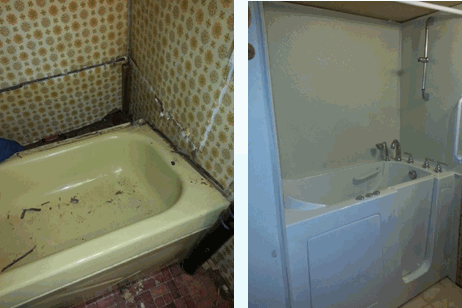 Before and After Walk in Tubs Installation